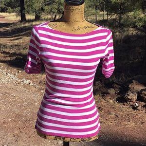 Lauren by Ralph Lauren Striped Boat Neck Top S
